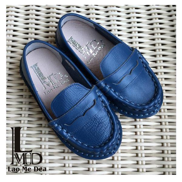 童鞋 寶藍色懶人鞋 豆豆休閒鞋 親子鞋 全真皮 牛皮LaoMeDea