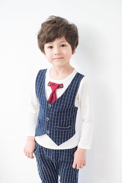 【Clear kids】男童 帥氣領結二件套裝-藍色