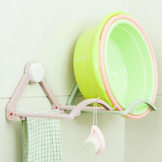♚MY COLOR♚自動回彈臉盆掛架 廚房 衛浴 置物 免釘 吸盤 鍋蓋 通風 瀝乾 無痕 陽台 【L199】