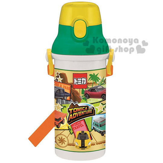 特價399↘〔小禮堂〕TOMICA 小汽車 日製直飲式水壺《黃綠白.多車子.480ml》