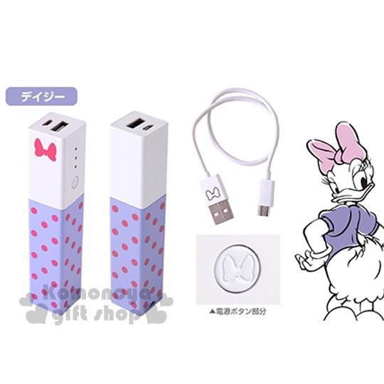 〔小禮堂〕Hemee x 迪士尼 黛西 口紅型行動電源《白紫.點點.2900mAh》附microUSB連接線