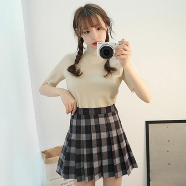 PS Mall 韓版半高領開叉短袖T恤【T1224】