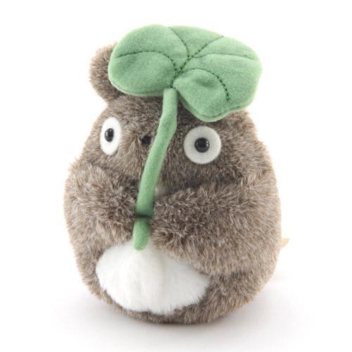 【真愛日本】13020100025 短絨沙包手玉娃-灰龍貓撐葉 龍貓 TOTORO 豆豆龍 沙包娃 公仔