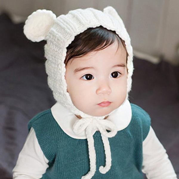 寶寶帽 小熊耳朵針織毛線帽 嬰兒帽 童帽 套頭帽 BU1554