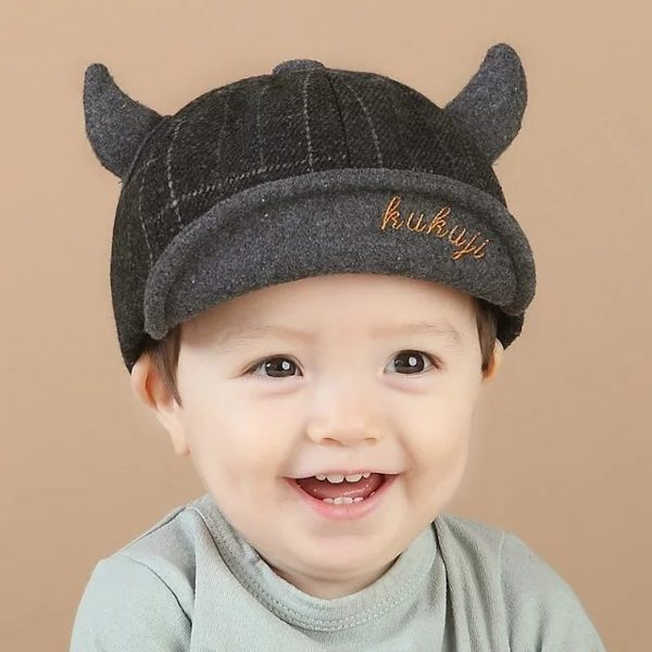 寶寶帽 格子牛角軟沿鴨舌帽  嬰兒帽 BU11829