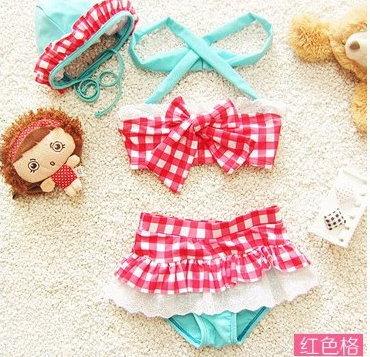 兒童嬰兒格子可愛比基尼分體裙式游泳衣寶寶女童泳裝+泳帽-紅格色