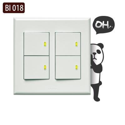 創意時尚無痕環保PVC壁貼牆貼BI018害羞熊貓開關貼防水不傷牆面可重覆撕貼