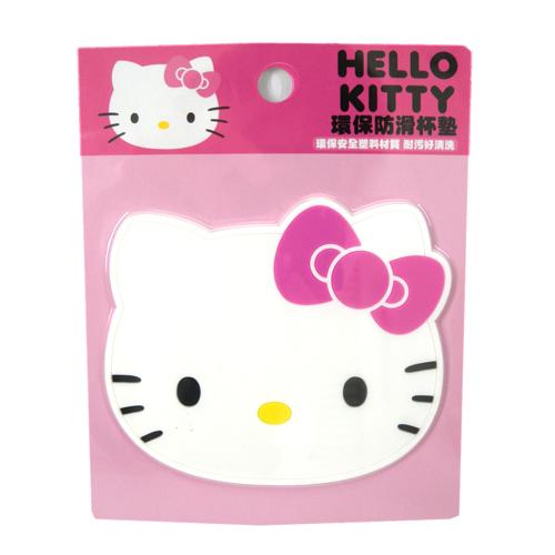 【真愛日本】15091900009環保防滑杯墊-KT白  三麗鷗 Hello Kitty 凱蒂貓   杯墊  墊子 止滑