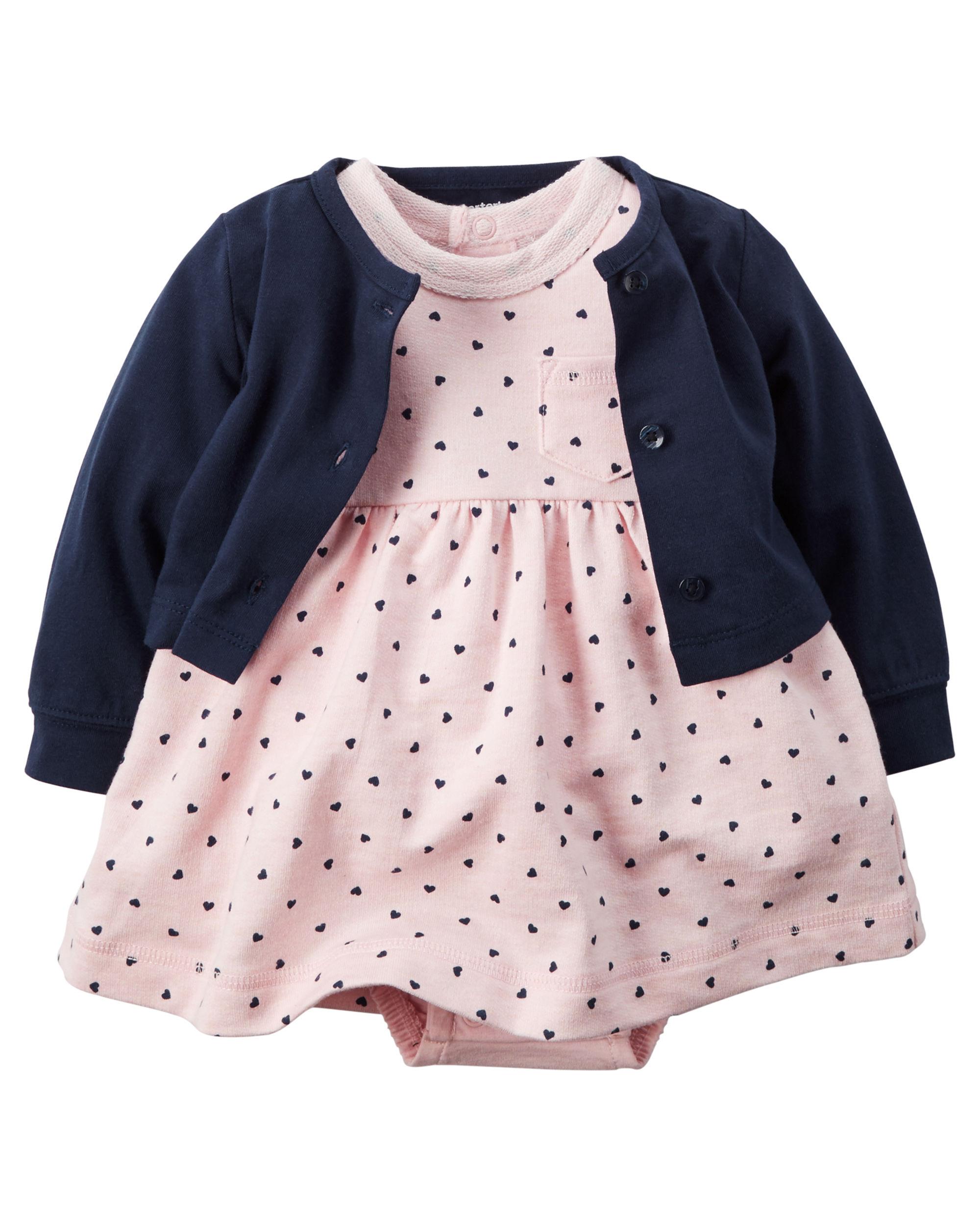 【美國Carter's】套裝2件組-粉嫩愛心點點包屁式洋裝+純棉小外套#121G460