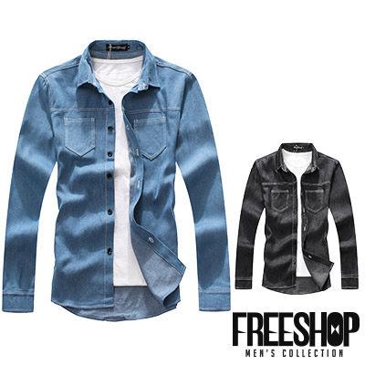 Free Shop【QJFK3809】日韓系型男胸前平式口袋撞色精細車縫單寧襯衫牛仔長袖襯衫 二色