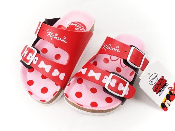 EMMA商城~Disney迪士尼米妮經典調整式氣墊兒童拖鞋.童鞋紅粉15~21號