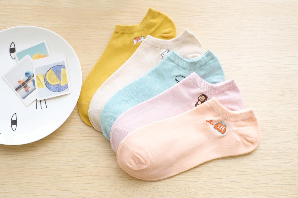 日系糖果色可愛小刺繡船型襪(10款)