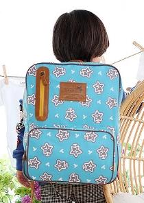 Tutuya◆時尚可愛滿版星星百搭帆布兒童書包雙肩包休閒後背包-藍色