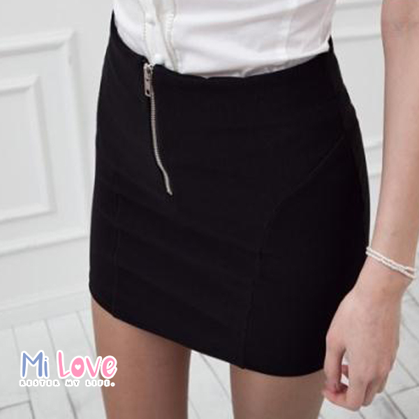 MiLove ↗ 新款百搭高腰顯瘦拉鏈包臀裙 ☆【K07】