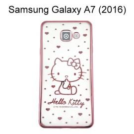 Hello Kitty 電鍍軟殼 [點點] 玫瑰金 Samsung A710Y Galaxy A7 (2016)【三麗鷗正版授權】