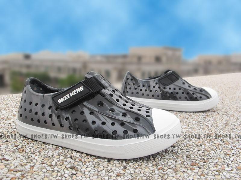 Shoestw【92115NCCBK】SKECHERS 小童鞋 涼鞋 防水鞋 灰黑白 迷彩 男生 夏天必備