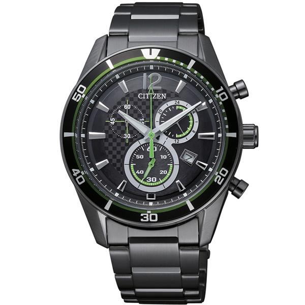 CITIZEN星辰AT2115-52E酷炫綠痕光動能計時碼表/黑面40mm