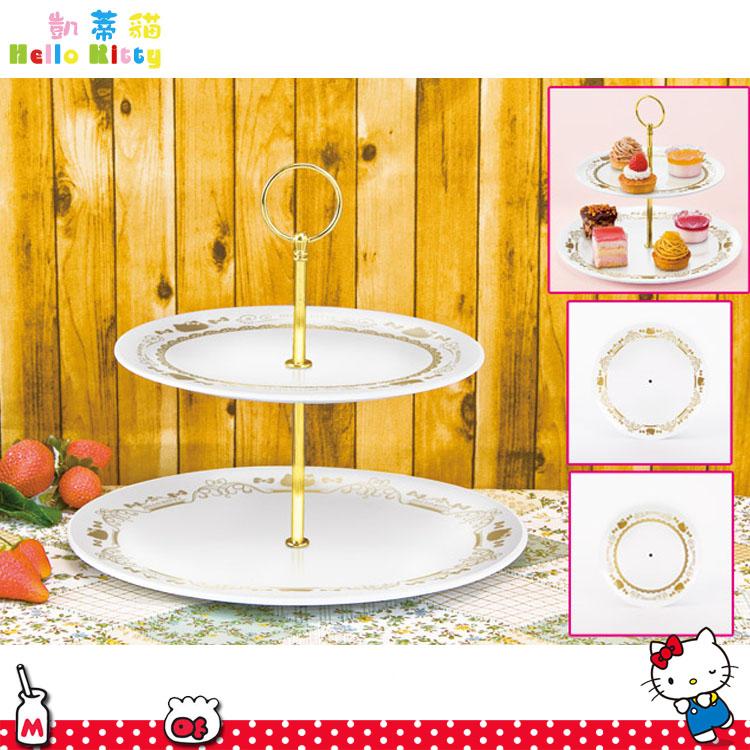大田倉 日本進口正版 Hello Kitty凱蒂貓下午茶盤組 景品 兩層水果盤 蛋糕架 蛋糕盤 下午茶點心 1609010001