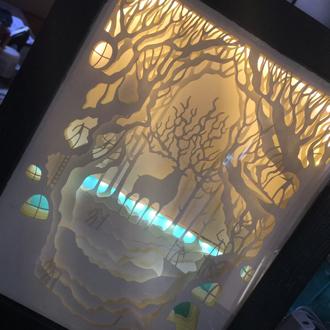 紙雕光影-夜燈 巨鹿王 Diy / 成品