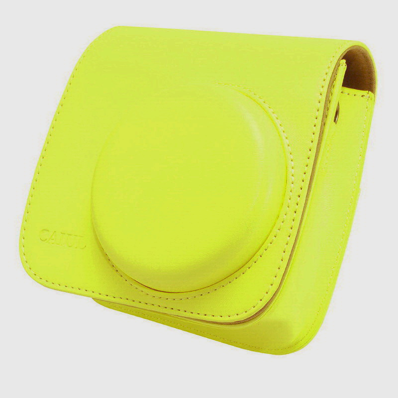 【拍立得配件】Fujifilm instax Mini70 皮質相機包 加蓋 黃色 富士 Kamera 相機殼