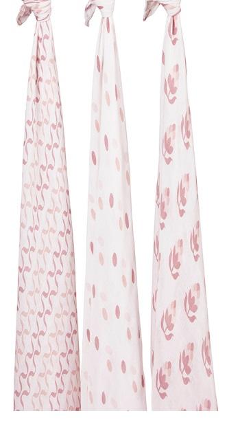 【淘氣寶寶】美國 Aden + Anais 竹纖維雙層細紗布輕柔新生兒包巾(3入裝/公司貨) (花+點點PPB900)★英國喬治小王子御用包巾品牌