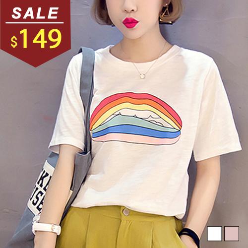 T恤 彩虹嘴唇印花短袖棉質上衣 小豬兒 MiNi Jule 【SCA61046761】