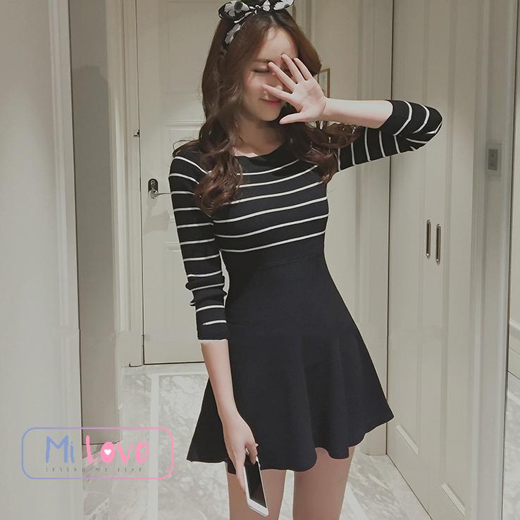 MiLove ↗ 韓風氣質橫條針織洋裝 ☆【E04】