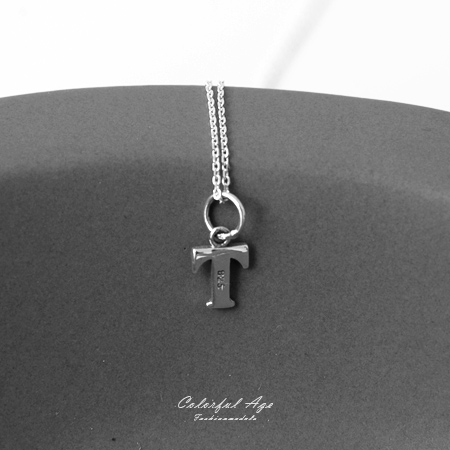 925純銀項鍊 簡單大方英文字母T造型頸鍊短鍊 個性女孩百搭 抗過敏設計 柒彩年代【NPB29】