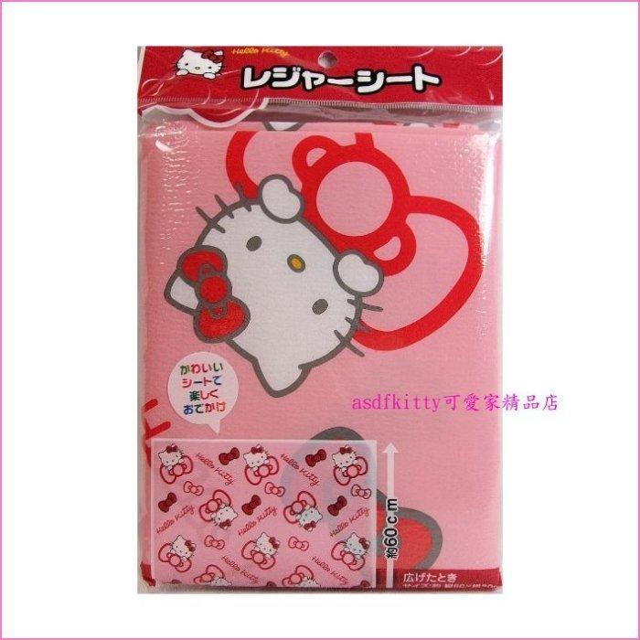 asdfkitty可愛家☆KITTY紅蝴蝶結超薄泡棉野餐墊/櫥櫃墊-80*60公分-日本正版商品