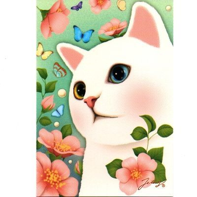 JETOY,Choo Choo 甜蜜貓第二代明信片_Vintage flower~快樂生活網