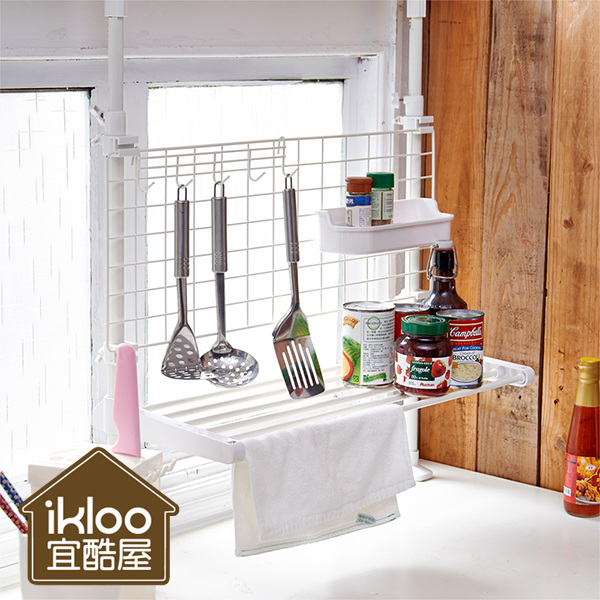 廚房收納架 頂天立地雙桿廚房置物架 無痕掛勾 瀝水架ikloo【YV4688】快樂生活網