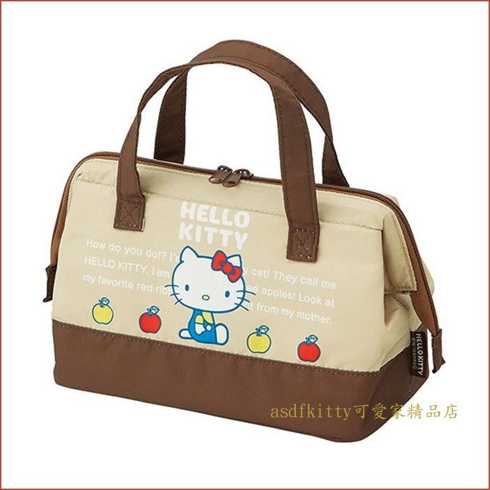 asdfkitty可愛家☆KITTY小蘋果寬口拉鍊輕量保溫便當袋/手提袋/購物袋-也可保冷-日本正版商品