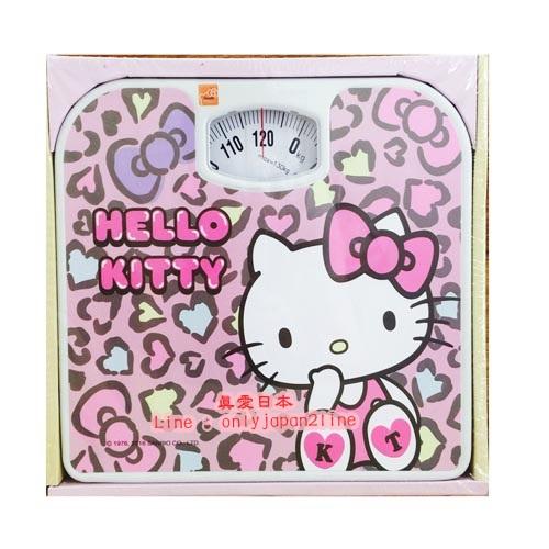 【真愛日本】16092900002 指針式體重計-KT豹紋粉   三麗鷗 Hello Kitty 凱蒂貓 居家 正品