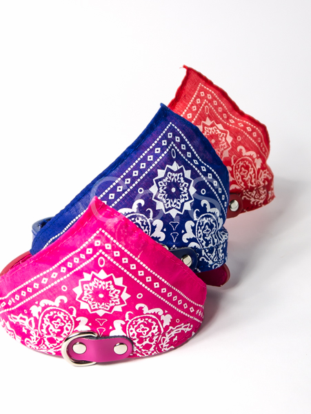 【小樂寵】牛仔帥氣花紋皮革三角巾項圈 S-XL