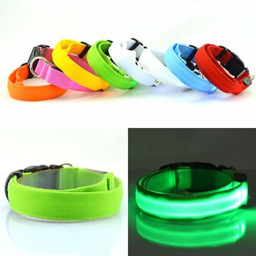 【小樂寵】四段發光 素色透光LED項圈/S~L(夜間好幫手)
