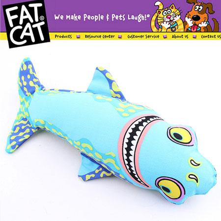 【小樂寵】Fatcat 藍色波紋鯊魚耐咬帆布玩-35cm
