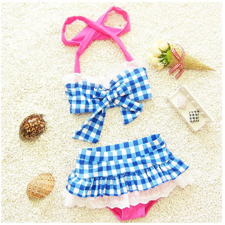 兒童嬰兒格子可愛比基尼分體裙式游泳衣寶寶女童泳裝+泳帽-藍格色
