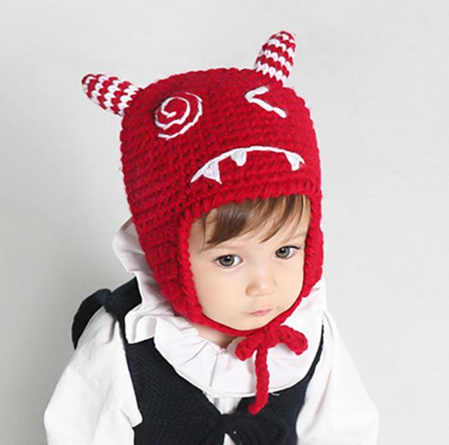 50%OFF【E018831WH】韓國新款羊角護耳帽嬰兒童毛線帽子寶寶秋冬防風保暖帽