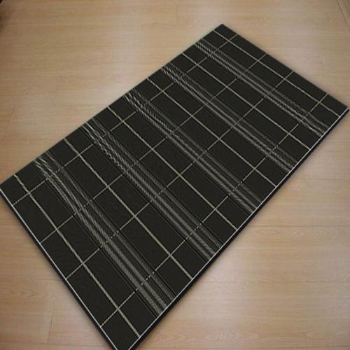 爵士南洋編織風類亞麻地毯-格局(黑)-60x110cm
