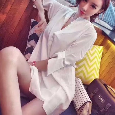 SISI【D6182】性感鏤空大露背金屬鍊條裝飾深V領寬鬆襯衫連身裙洋裝