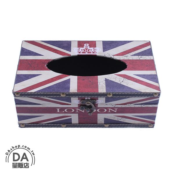 《DA量販店》交換禮物 聖誕 禮品復古 仿舊 英國 國旗 木製 面紙盒 衛生紙盒 發票盒 飾品盒(79-2853)