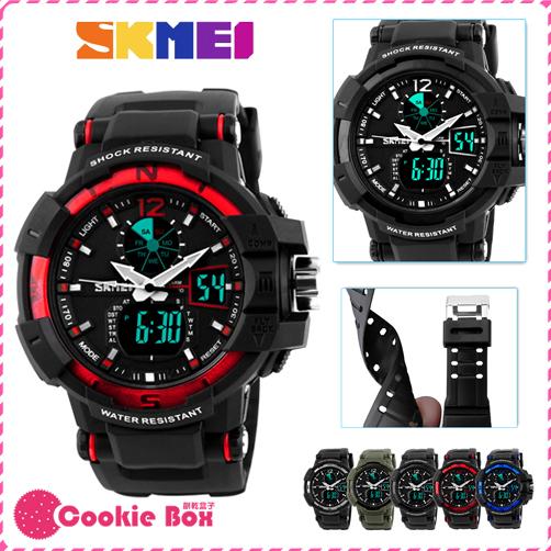 *餅乾盒子* 時刻美 SKMEI 雙時環 手錶 雙顯 EL 冷光 電子錶 指針錶 男錶 女錶 對錶 多色 秒錶 計時