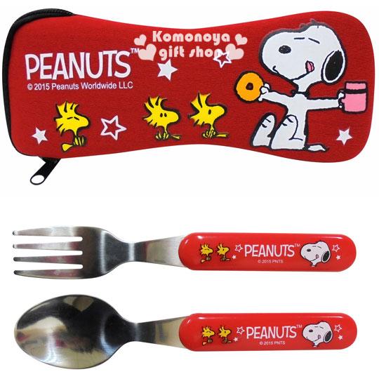 〔小禮堂〕史努比 不鏽鋼匙叉餐具組《紅.甜甜圈.糊塗塔克.白星星》附潛水布收納套