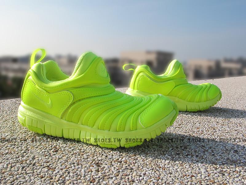 Shoestw【343938-702】NIKE DYNAMO FREE 童鞋 毛毛蟲 小童鞋 螢光綠色 可凹折