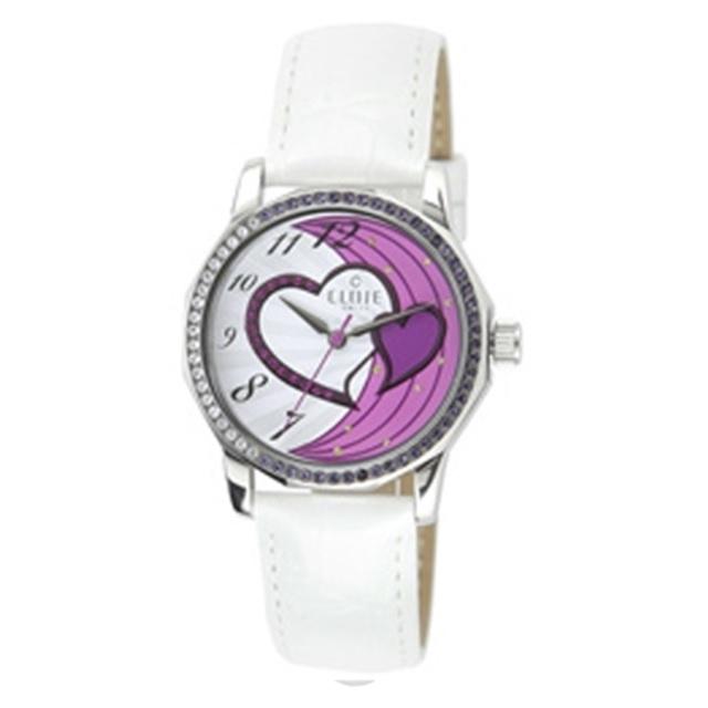 CLOIE 圓形晶鑽女腕錶 白色/紫愛心/34mm CL10175-YQ04