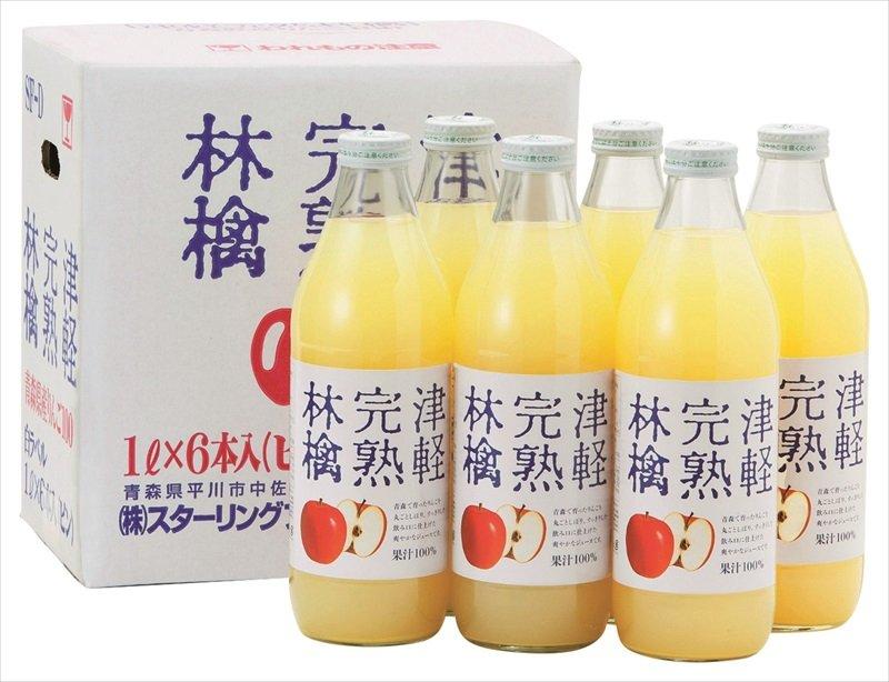 青森津輕完熟蘋果汁/林檎完熟(1L x 6瓶)/4968979001113