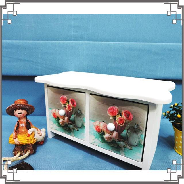↙8折↘ 洗白浪型二抽櫃《2W5》粉嫩玫瑰桌上型二抽櫃 收納櫃 飾品珠寶盒 居家布置◤彩虹森林◥