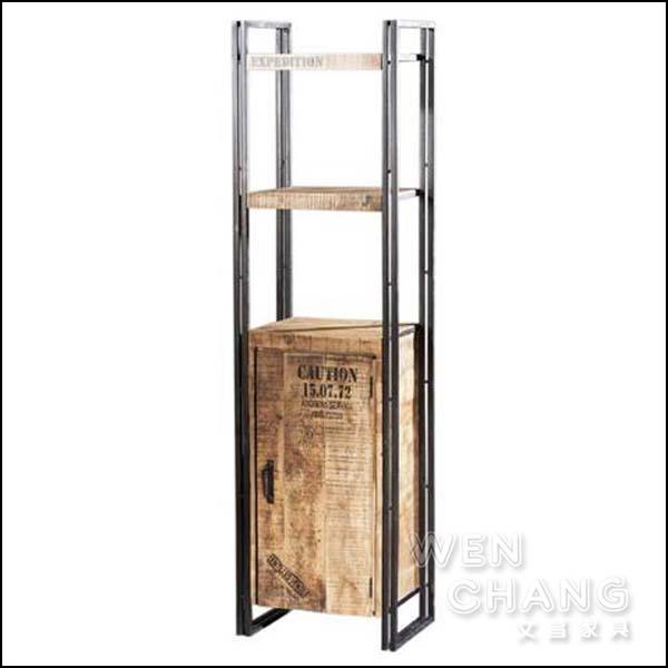 LOFT 工業風 希特鐵木開門二層 書架 書櫃 展示架 仿舊 CB045 *文昌家具*
