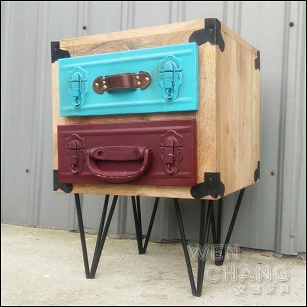 LOFT 工業風 做舊 材質混搭 希特工具箱皮箱床頭櫃 CB067 *文昌家具*