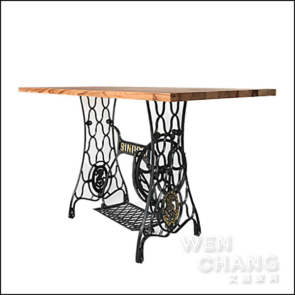 LOFT風 復古工業 裁縫車餐桌 方型餐桌 TB042 *文昌家具*